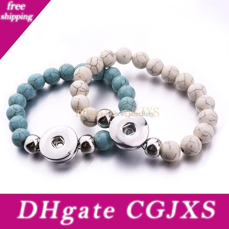 Natural Stone Noosa Snap Jewelry Handmade Beaded Snap Bracelet Fit 18mm Snap Button Elastic Strand Beads Bracelet