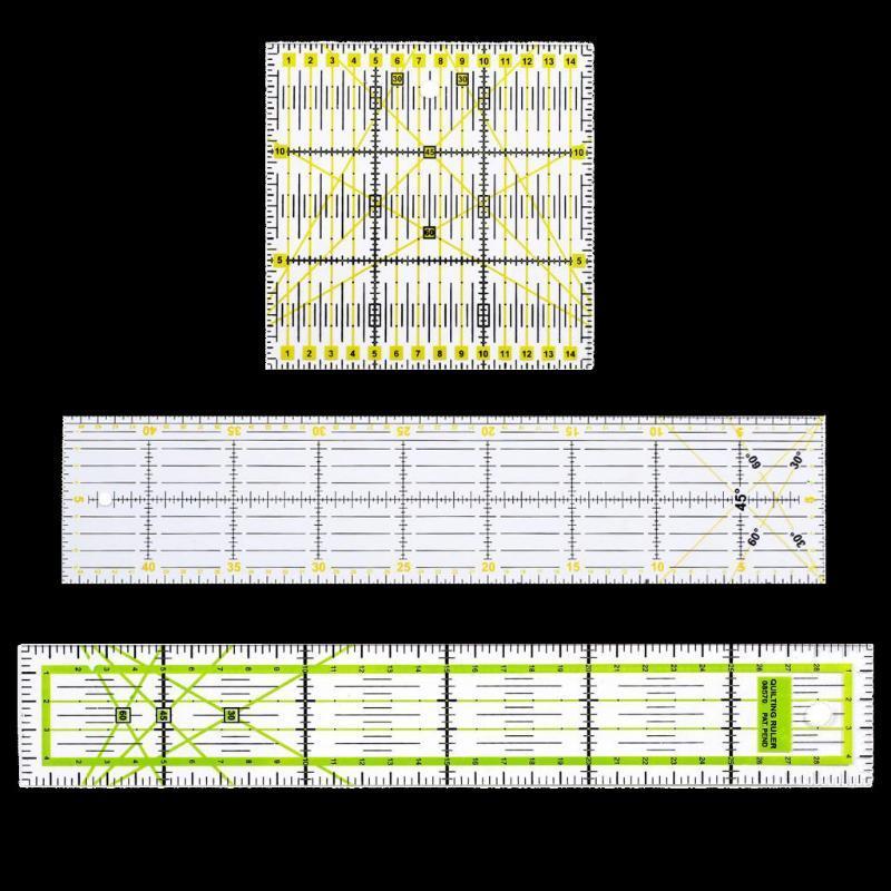 3pcs / set acrylique multi-fonction Vêtement couture Règle patchwork pieds Tailor Yardstick Tissu Règles de coupe * 15 15/15 * 45/5 * 30cm