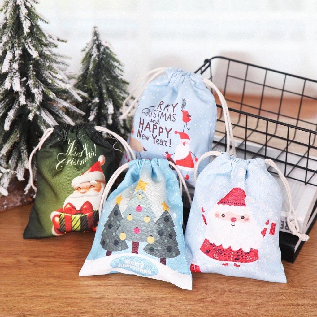 Bolsas de regalo de Navidad de Santa Sacks lazo de tela Año Nuevo 2020 regalos de la bolsa de Navidad decoraciones de Navidad para el hogar regalo Natal Noel wO8K #