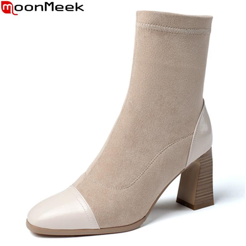 MoonMeek 2020 grande formato 33-43 donne grossi stivali tacco alto quadrato scarpe da donna punta autunno inverno stivaletti riso bianco