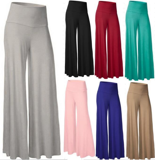 8 컬러 S-4XL 여자 높은 허리 요가 바지 넓은 다리 느슨한 팔라 스포츠 바지 Loungwear 56196707899239