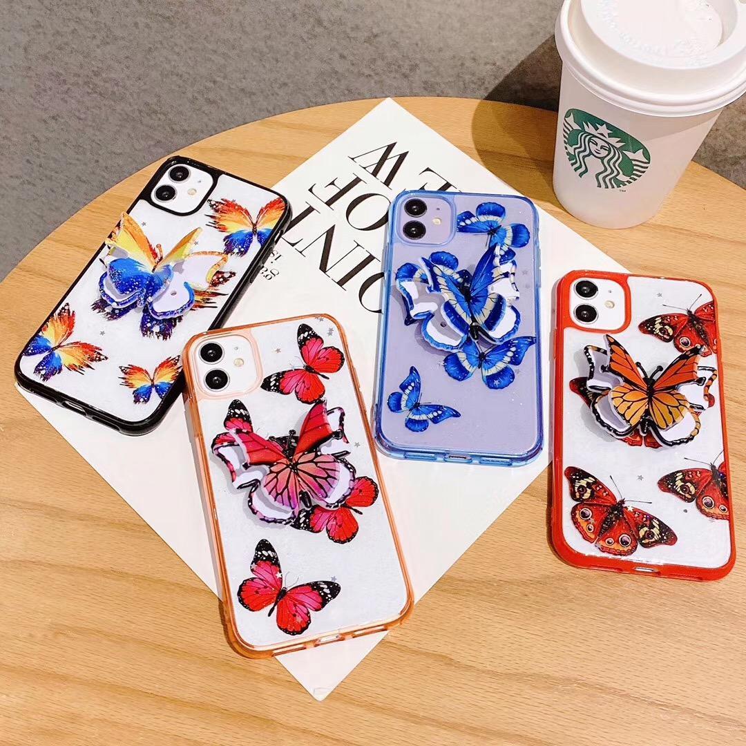 moda caixa do telefone da borboleta para iPhone SE 2020 6 6S 7 8 Plus X XS 11 Pro Max XR guta-percha cobertura caso Bracket