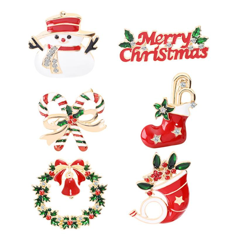 Mode Weihnachtsbrosche als Geschenk Weihnachtsbaum Schneemann Weihnachtsstiefel Jingling Glocke Santa Claus Broschen Pins Weihnachtsgeschenk HWE3283