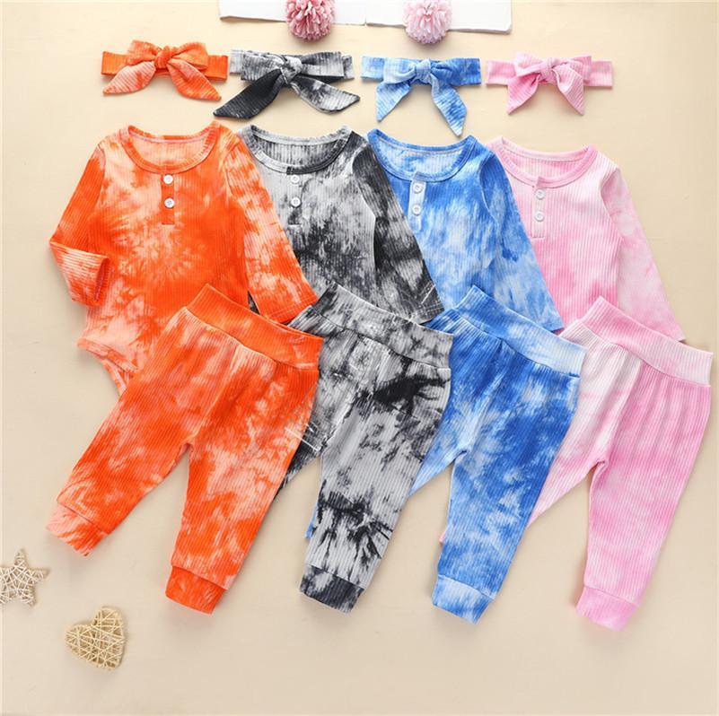 Tie-Dye Designers Crianças Roupas Bebê Bebê Manga Longa Hoodie Sweaters Jumpsuits Calças Headbands Three Parte Set Outono Crianças Macacões Novo D82505