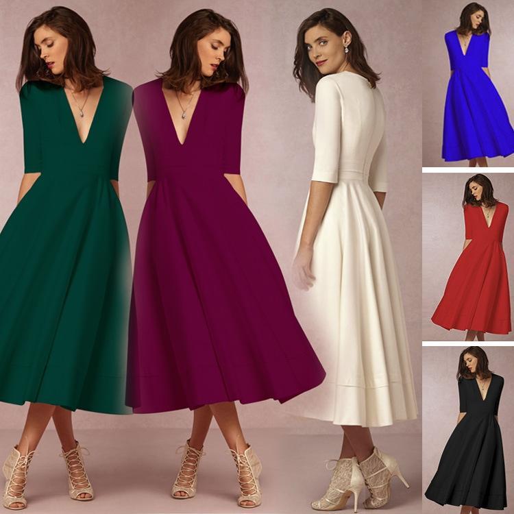 sFfua 2019 high-end Outono / Inverno New sexy NAduG vestido vestido V profundo saia longa meados de mangas de comprimento médio