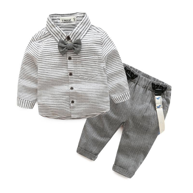 çocuk giyim beyefendi gri çizgili gömlek + tulum moda erkek bebek Yenidoğan giysileri