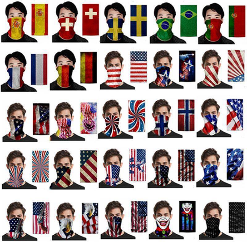 Bandeira Ciclismo máscara mágica Cachecol Bandana Multifunctional respirável alça Turban adultos Outdoor Sports Máscara Anti-Haze Magia lenço principal IIA539