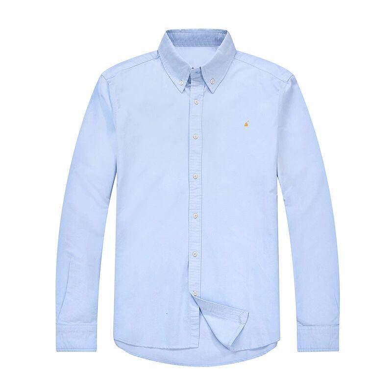Мужская роскошь рубашки поло пони знак Бизнес Повседневная рубашка Оксфорд Хлопок Дизайн Марка Сплошной цвет рубашки вышивки Pony Mark с длинным рукавом