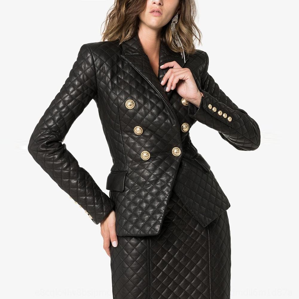wH3zA costura lionslim 2020 novo revestimento das mulheres High-end de couro losango Revestimento de couro paletó pontas trespassado