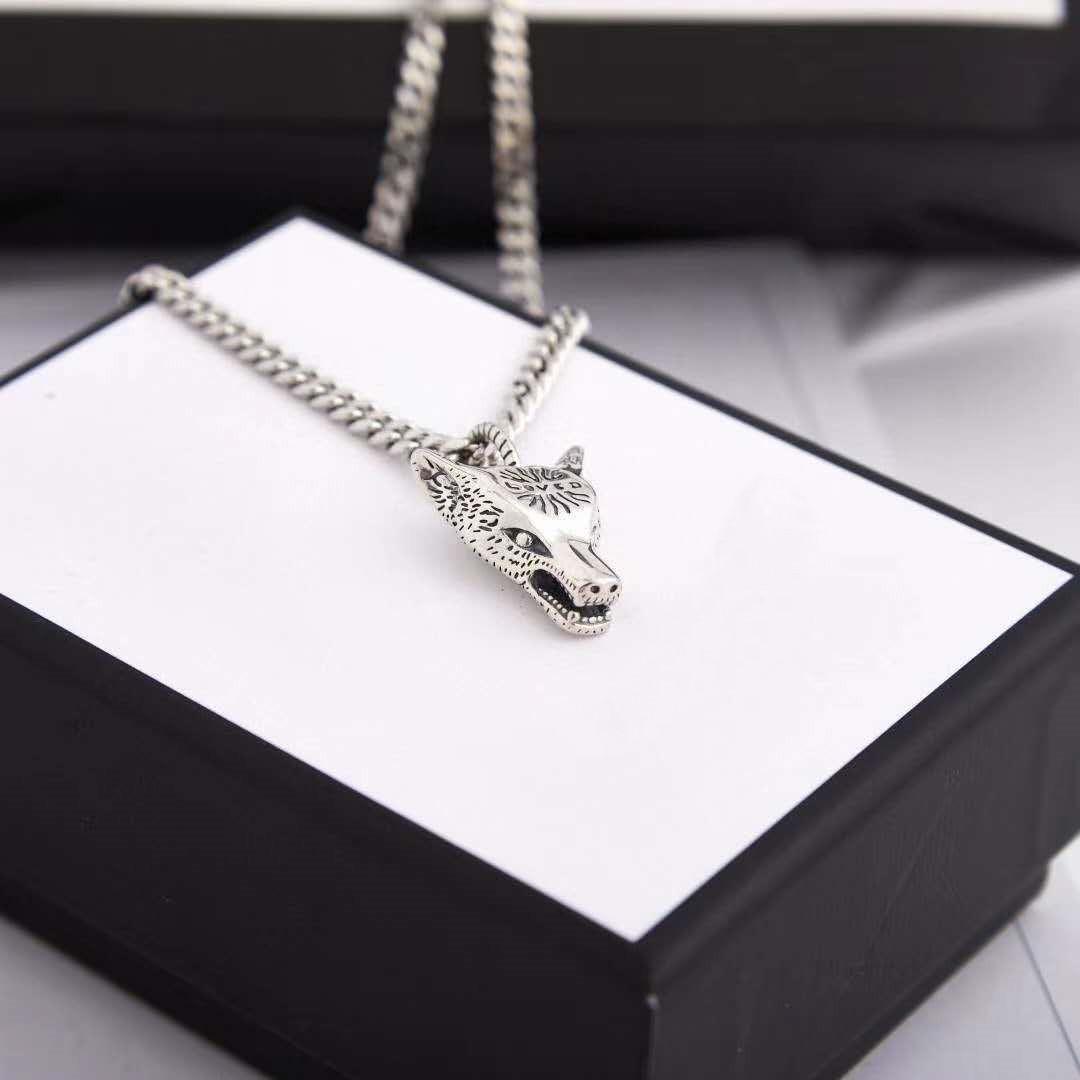 Novo estilo lobo cabeça colar para unisex qualidade superior de prata chapeado cadeia colar personalidade charme colar moda