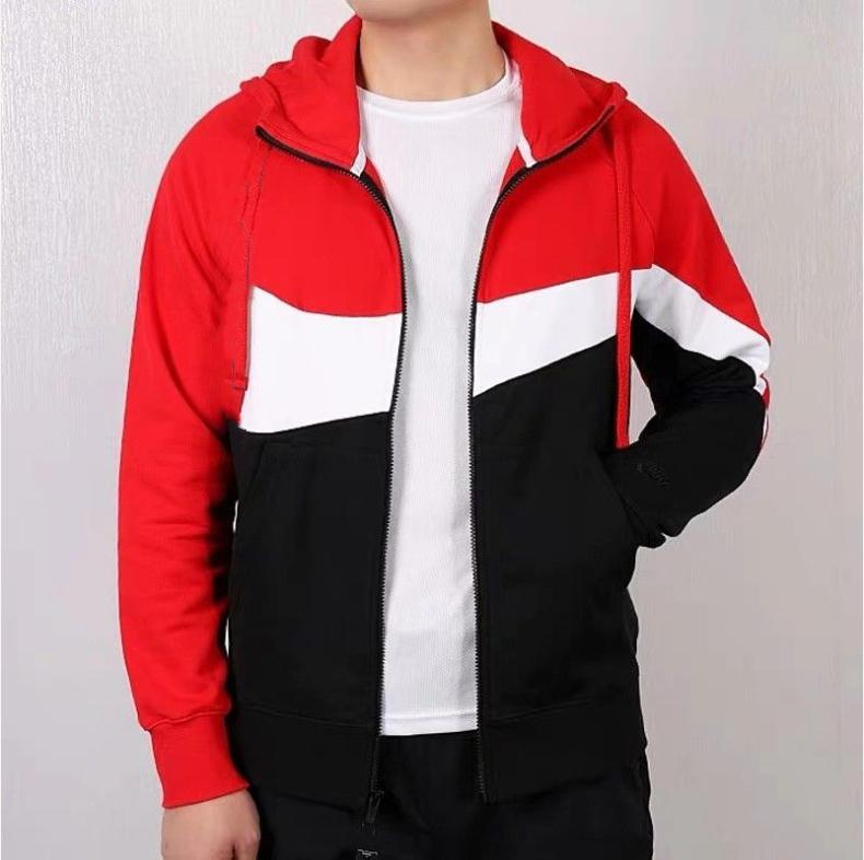 أزياء الخريف مقنع الستر الرجال العلامة التجارية الرياضة سترة واقية المرقعة زيبر معاطف عارضة ملابس خارجية نشطة الستر HOTSALE الأحمر
