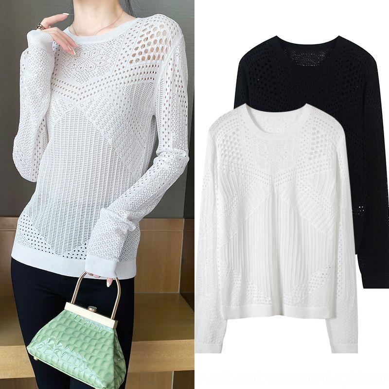 полые трикотажные новый ленивый шеи 9b82M 2020 весной и летом топ женская с длинным рукавом круглый сексуальный Топ пуловер пуловер