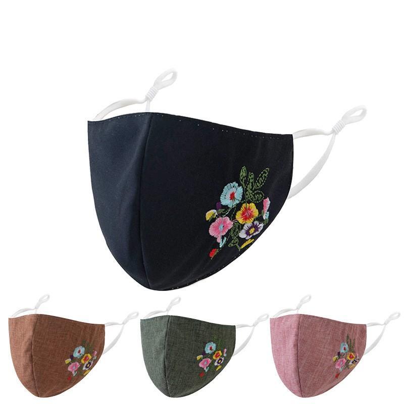 Máscaras de poeira flor Embroid Mascarilla Moda reutilizável personalizada Anti poeira respirador Earloop lavável Mulheres Homens 4 6ws C2