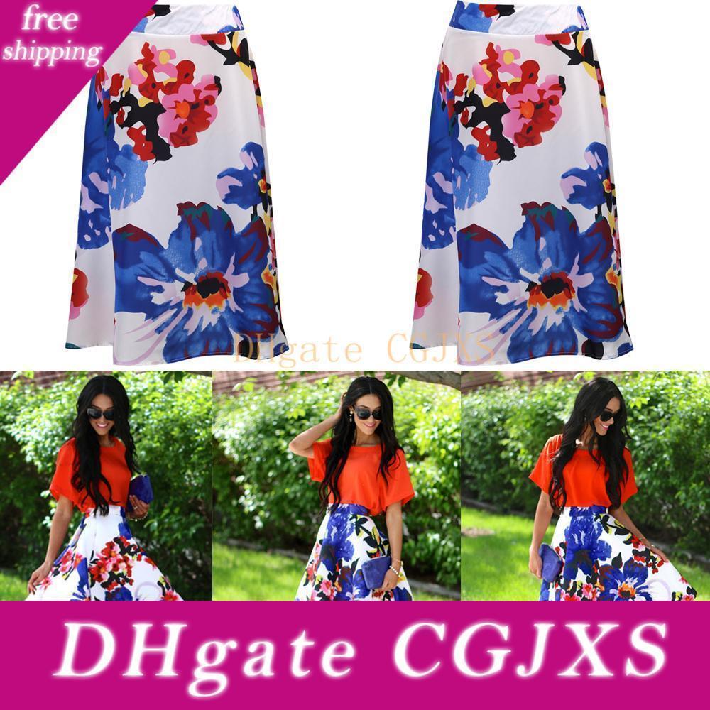 Os mais recentes Impressão Mulheres de verão Saias floral estilo chinês cintura alta Saias Moda A linha Flared Saias