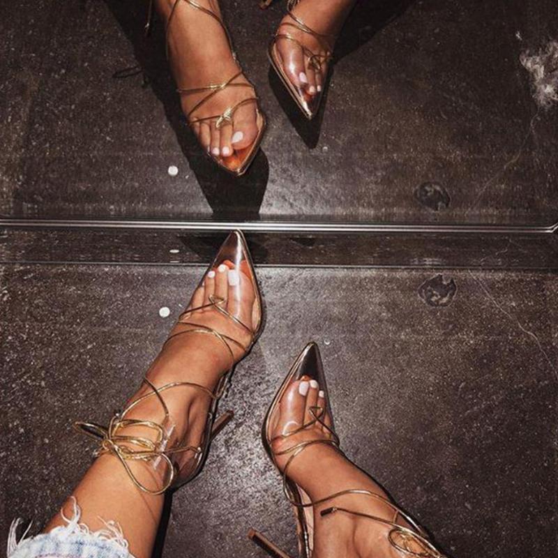 Kleid Schuhe Doratasia Transparent PVC Knöchel Wrap Fashion Dünne High Heels Sandalen Frauen Sexy Sommer spitz