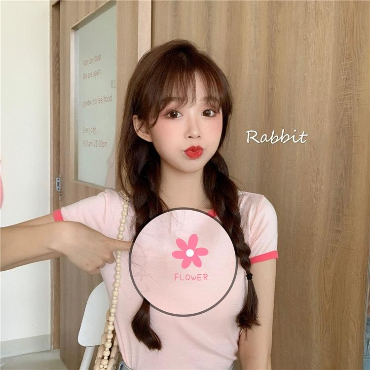 ae12X trendy Frauen kurzärmelige kurzärmelige 2020 Sommer neuer koreanisches bm oIgRi T-Shirt-Stil Top-Internet-Berühmtheit elegantes T-Shirt all-mat
