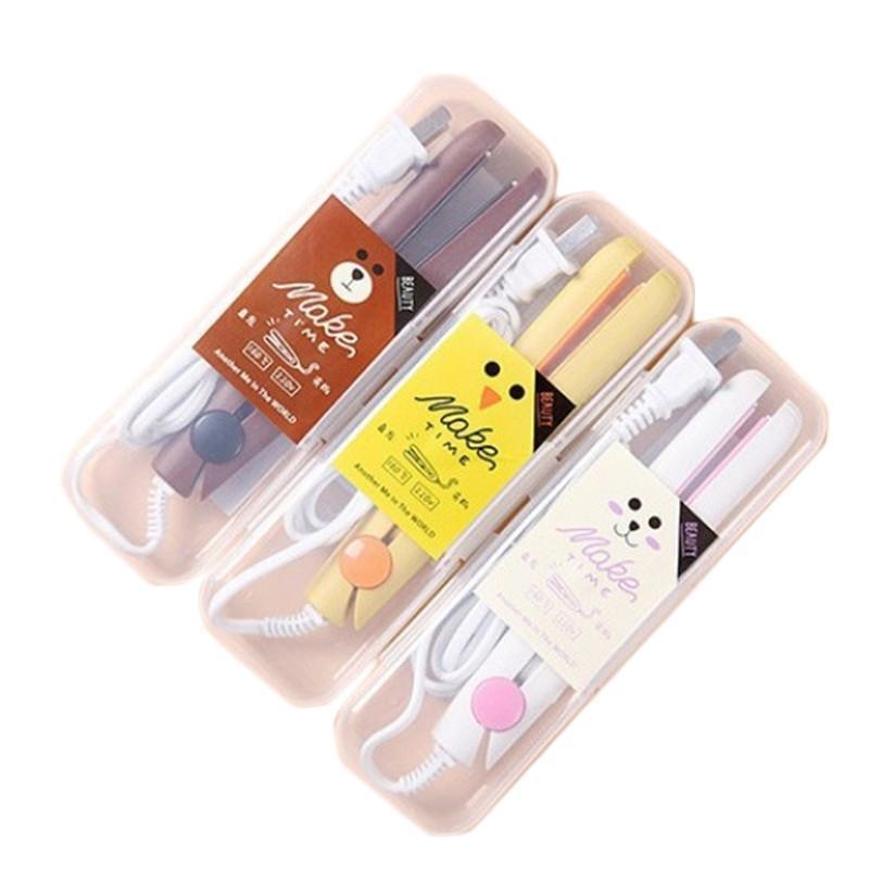 Mini Ceramic elétricos alisador de cabelo Curling Irons portátil viagem Alisamento Irons Flat Irons Professional Hair Styling como