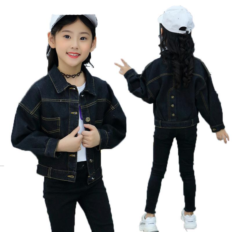 Nero Blu Giacca di jeans per le ragazze della molla del cotone Solid Cardigan Jeans Giacche di moda per bambini Outerwear Teenage Girl abiti da cowboy