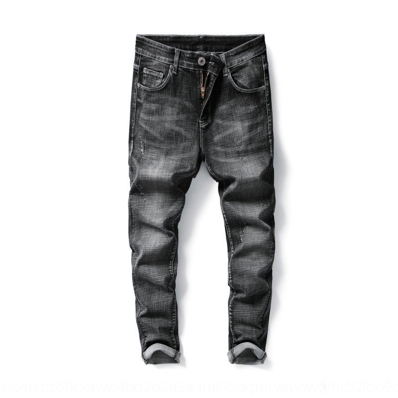 lCpWG Kot erkekler moda uyum Kore tarzı moda streç gri dumanlı rahat pantolon erkekler 2020 pantolon ve pantolon İlkbahar ve Sonbahar yeni ince