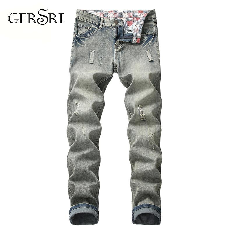 جينز الرجال جيرسي مصمم العلامة التجارية الرجال نحيل ممزق مدمر تمتد سليم صالح قفز السراويل مع حجم زائد ل