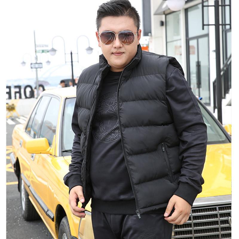 Algodón sin mangas invierno de los hombres chaleco para abajo de la chaqueta del chaleco de 6XL 7XL 8XL 9XL hombre del tamaño grande de Mannen Caliente Negro Real Azul para hombre CX200817 Escudo