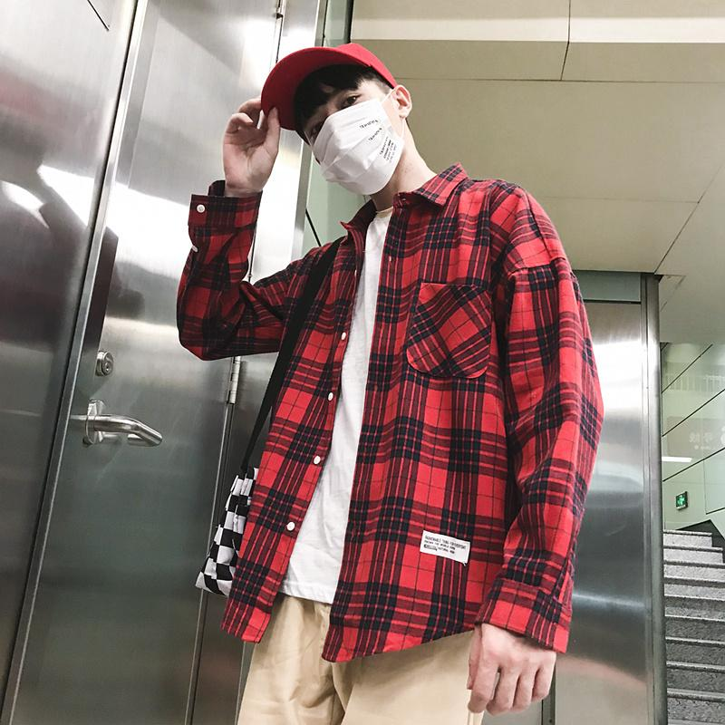 Camisa floja coreana Uzzang manera de la edición Camisa Damas Super Fire BF hombres de Hong Kong de viento elegante ropa