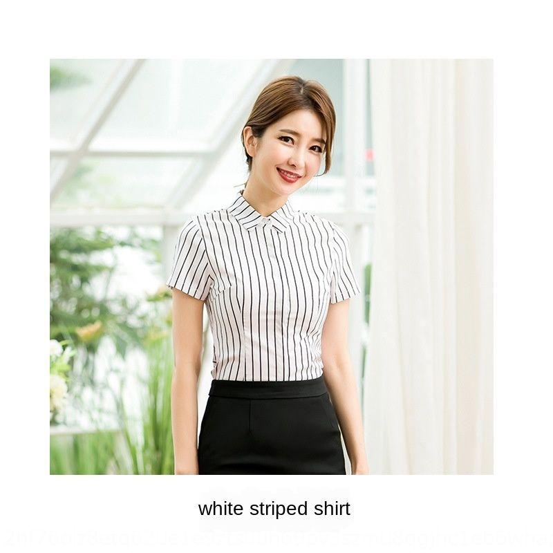 8qacd Otel gömlek kadın yaz giyim hızlı tren uçuş görevlileri mülakat iş aşınma kısa zarif gömlek sleeve