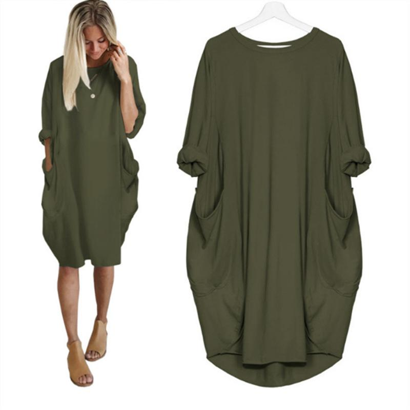 Womens Hot Sale Fashion Pocket Loose Dress Ladies Solid Crew Neck Casual Long Tops Dress Plus Size