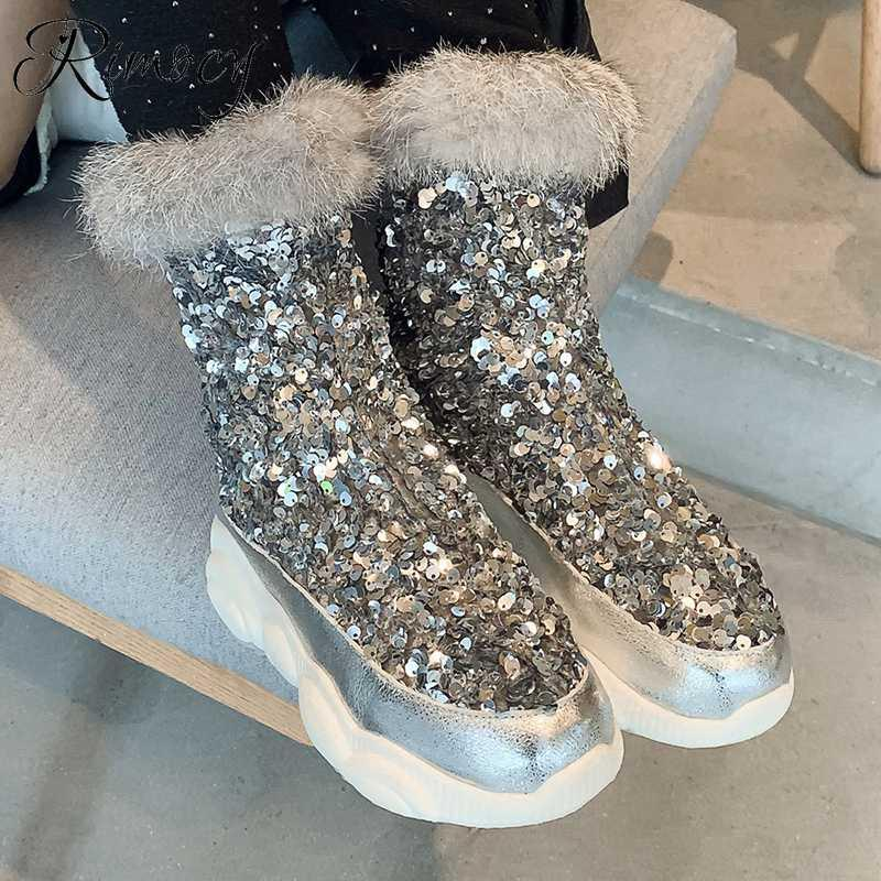 Rimocy أزياء المرأة بريق أحذية شتاء الياقة الفراء الدافئة القطيفة الترتر الفضي الثلج أحذية نسائية زمم لينة منصة التمهيد الكاحل