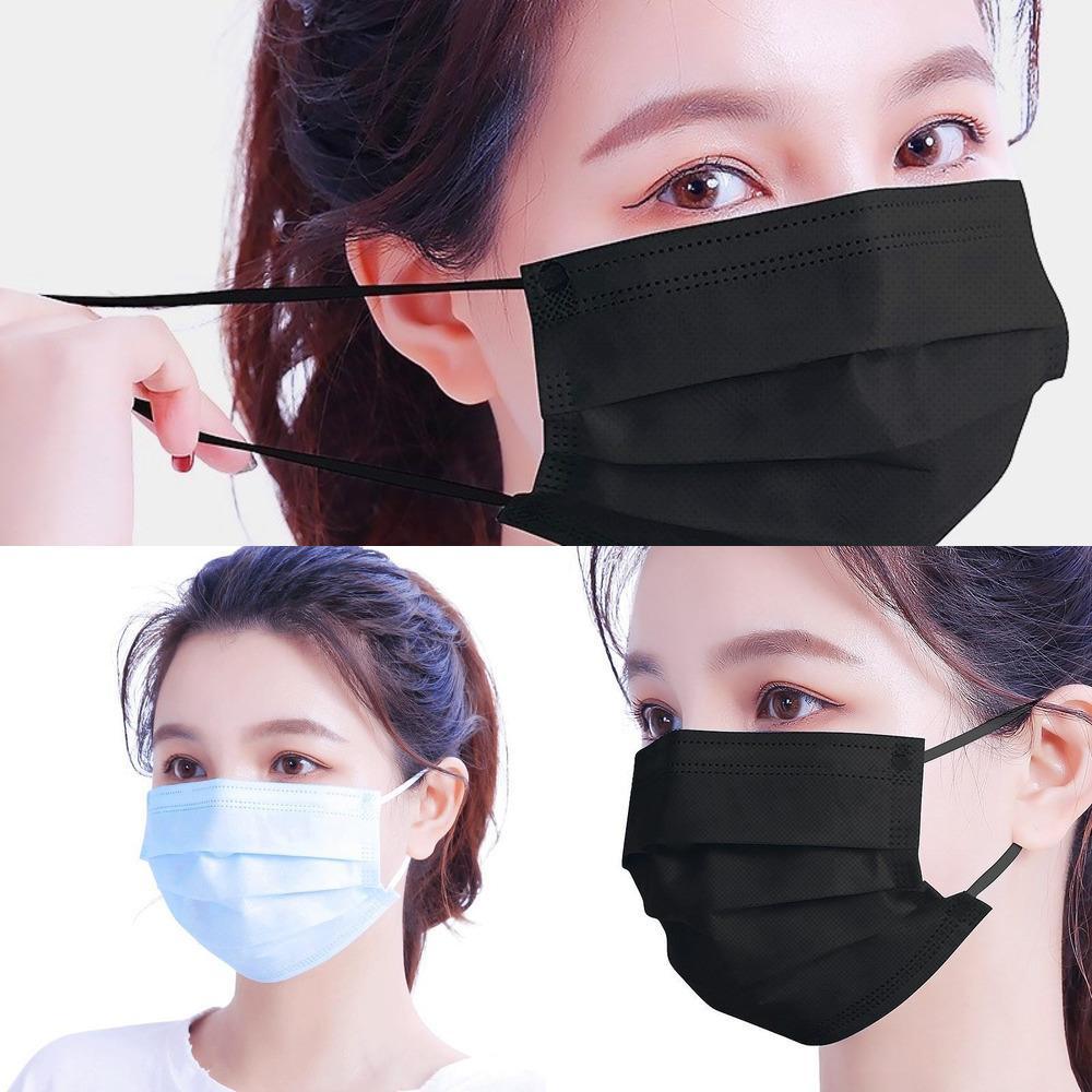 Azione! Veloce Maschere Nave Scuola monouso sociale viso elastico Ear Loop 3 pieghe traspirante per il blocco di aria della polvere anti-inquinamento Maschera Nero Rosa