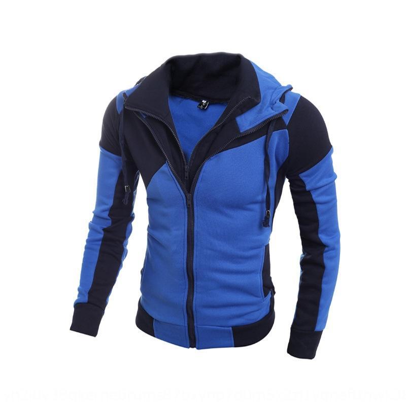 2020 nova combinação de cores personalizado de dupla camada dos homens moletom com capuz Hoodie com zíper camisola zipper camisola fina