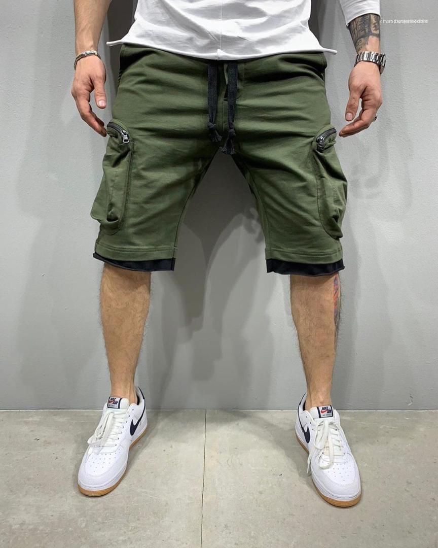 Pantalones deporte de la manera bolsillo multi longitud de la rodilla Pantalones para hombre del diseñador de Hip Hop cortos de verano con cordón informal