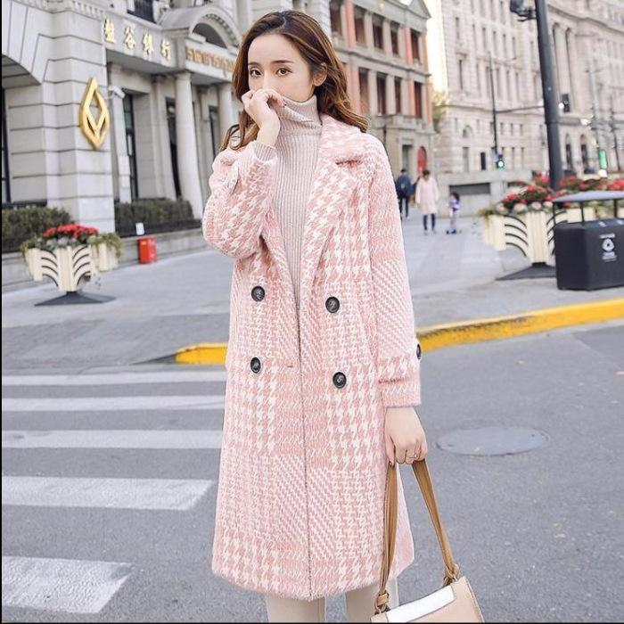 hw3zh idshc and Autumn winter mink imitation New velvet square collar over cardigan knee loose coat large size mid-length knitted the coat wo
