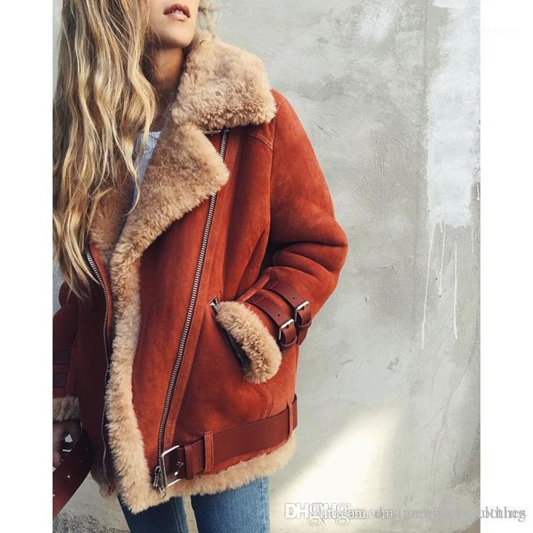Jacke Lamb Designer Wintermäntel drehen unten Kragen starke warme Jacken-Mantel-Frauen Veloursleder