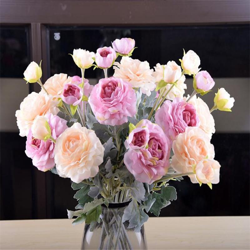 """7Pcs Fake Flocking Camellia (2 heads/piece) 18.9""""Length Simulation Rose for Wedding Home Decorative Artificial Flowers"""