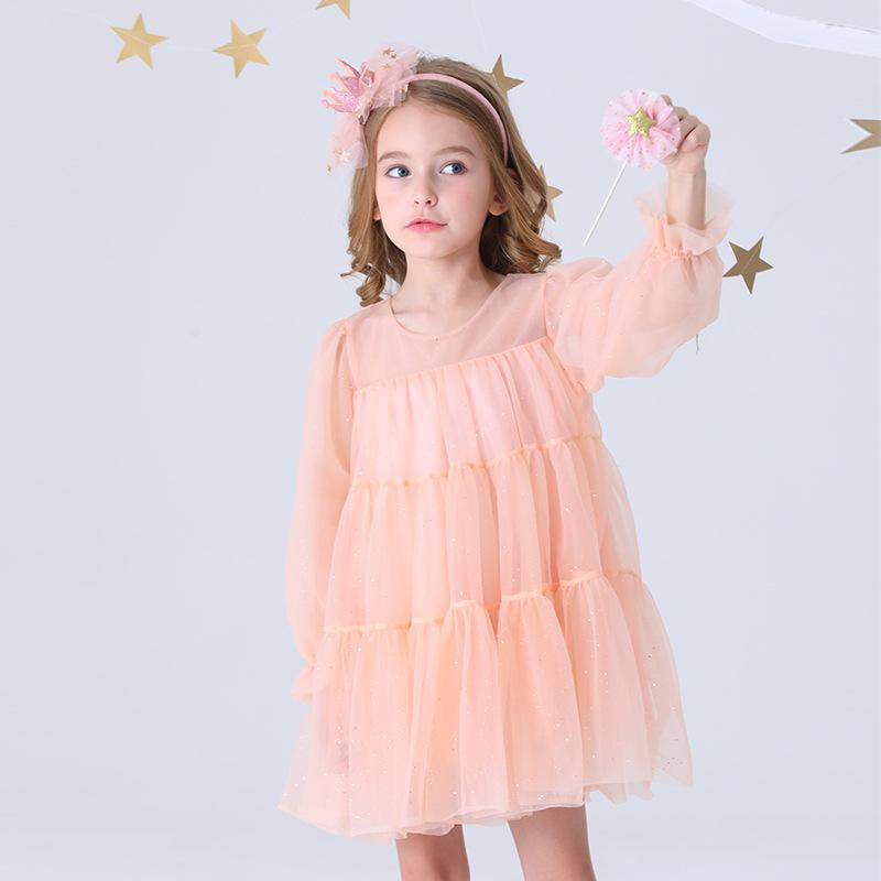 Orange Sequin dress autumn 2020 new long sleeve mesh dress girl new style princess skirt
