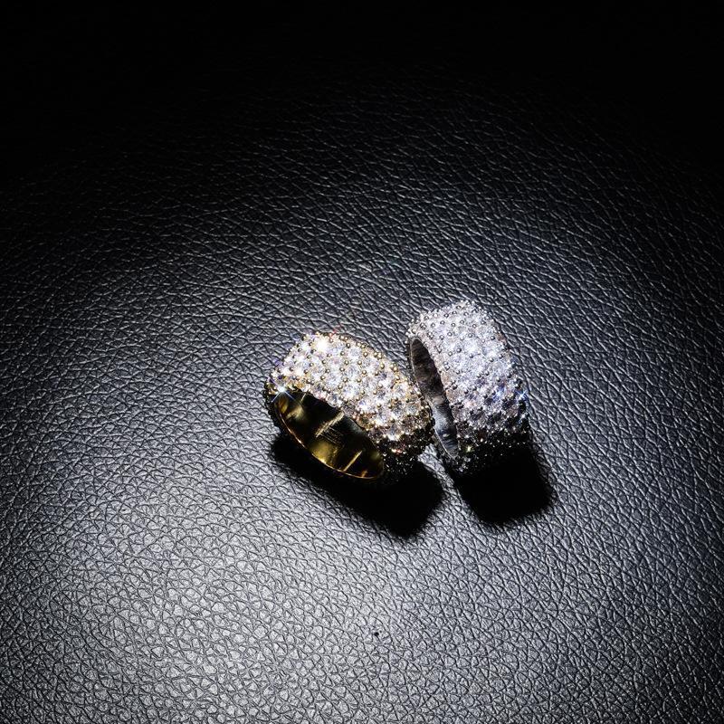 18 K oro y plata circón anillo manera de la personalidad de Hip Hop joyas pareja Anillo nuevo estilo brillante anillo de diamantes de Hip Hop