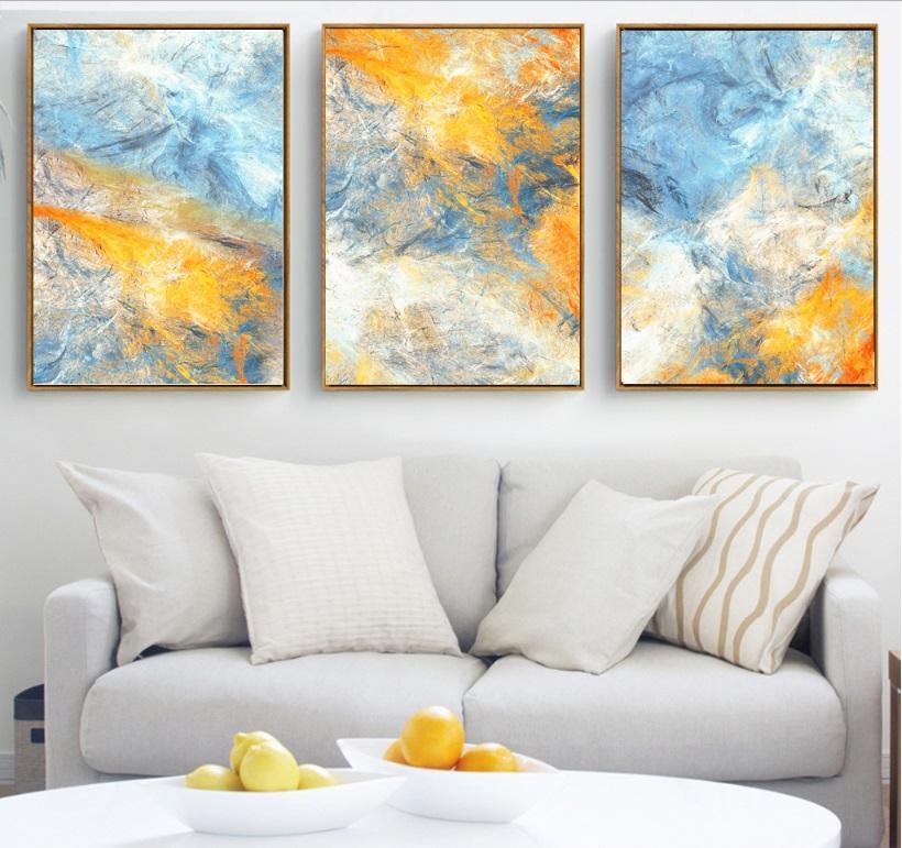 Salon Dekorasyon Hayır Çerçeveli için Rüya Mavi ve Sarı Soyut Sanat Tuval Resimler Modüler Resimleri Wall Art Kanvas