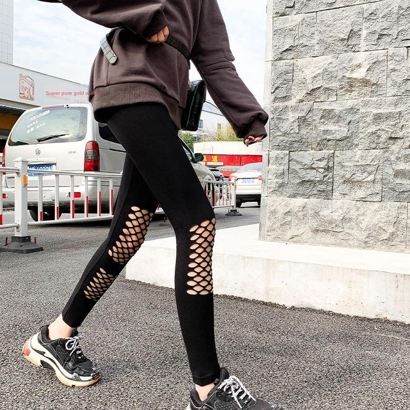 La primavera y el otoño nuevo agujero negro de adelgazamiento tramo de nueve puntos mendigo pantalones de las mujeres de los pantalones de desgaste exterior polainas delgadas WEYXQ