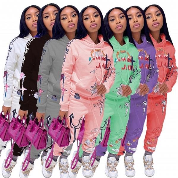 Grafiti Streetwear İki 2 Parça Set Kadın Eşofman Kadın Beyaz Siyah Hoodies Pantolon Kadın Eşleştirme Setleri Kıyafetler Sweatsuit X0923