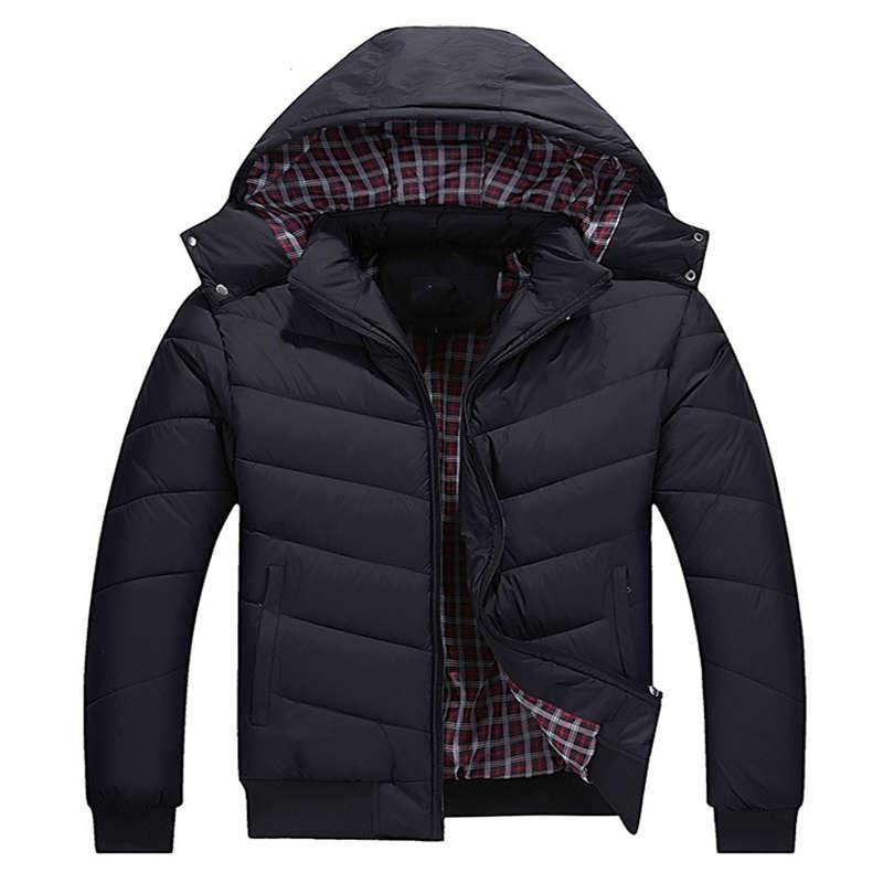 Giacca Mens Classic inverno Giù esterno di inverno Spesso Giacche manica lunga Warming Lettera Intorno cappello freddo Sport Jacket
