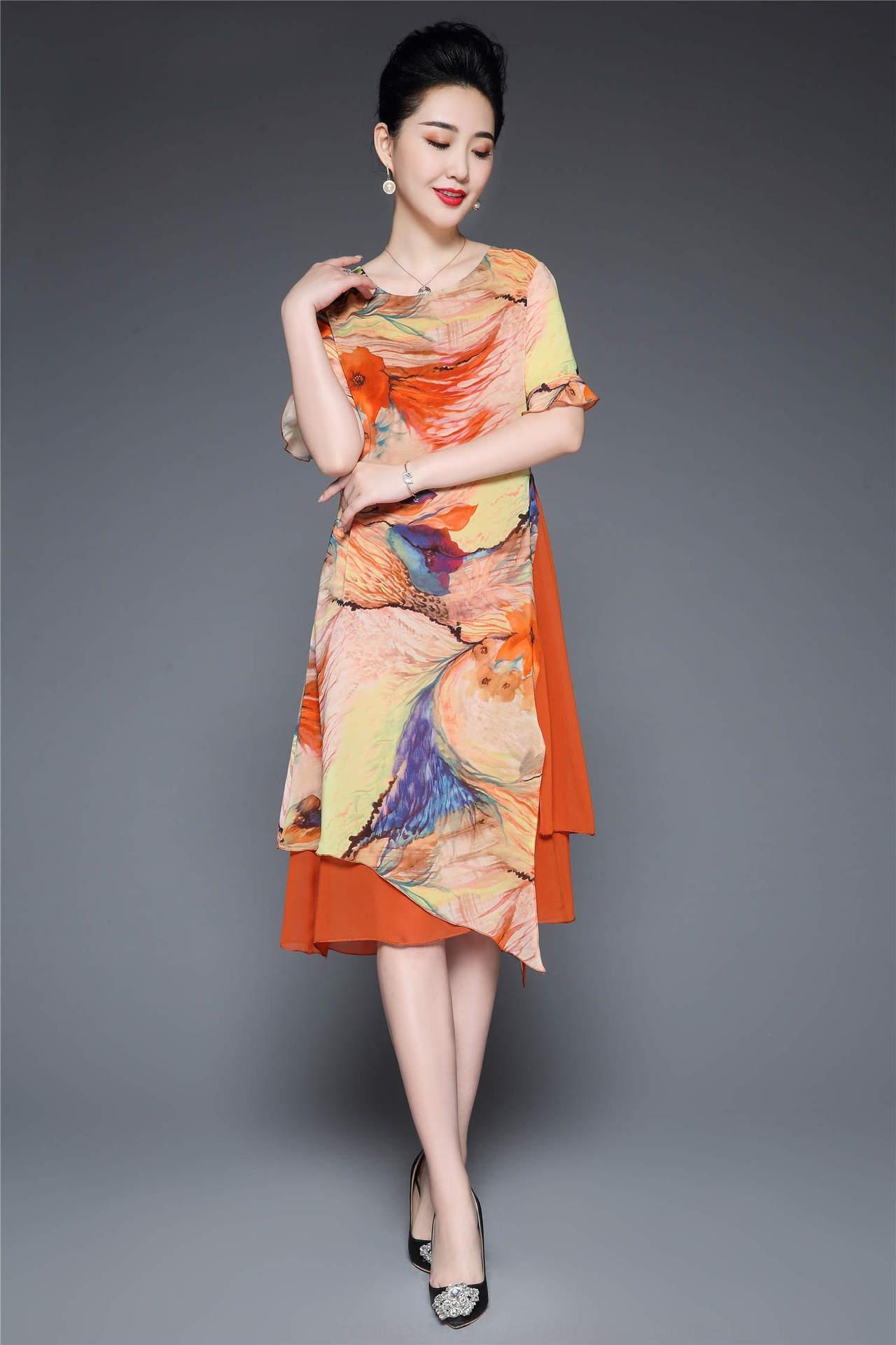 c6xqo été minceur imprimé à manches courtes pour les mères d'âge moyen de la soie à la mode riche de grande taille robe mi-longueur robe de la femme