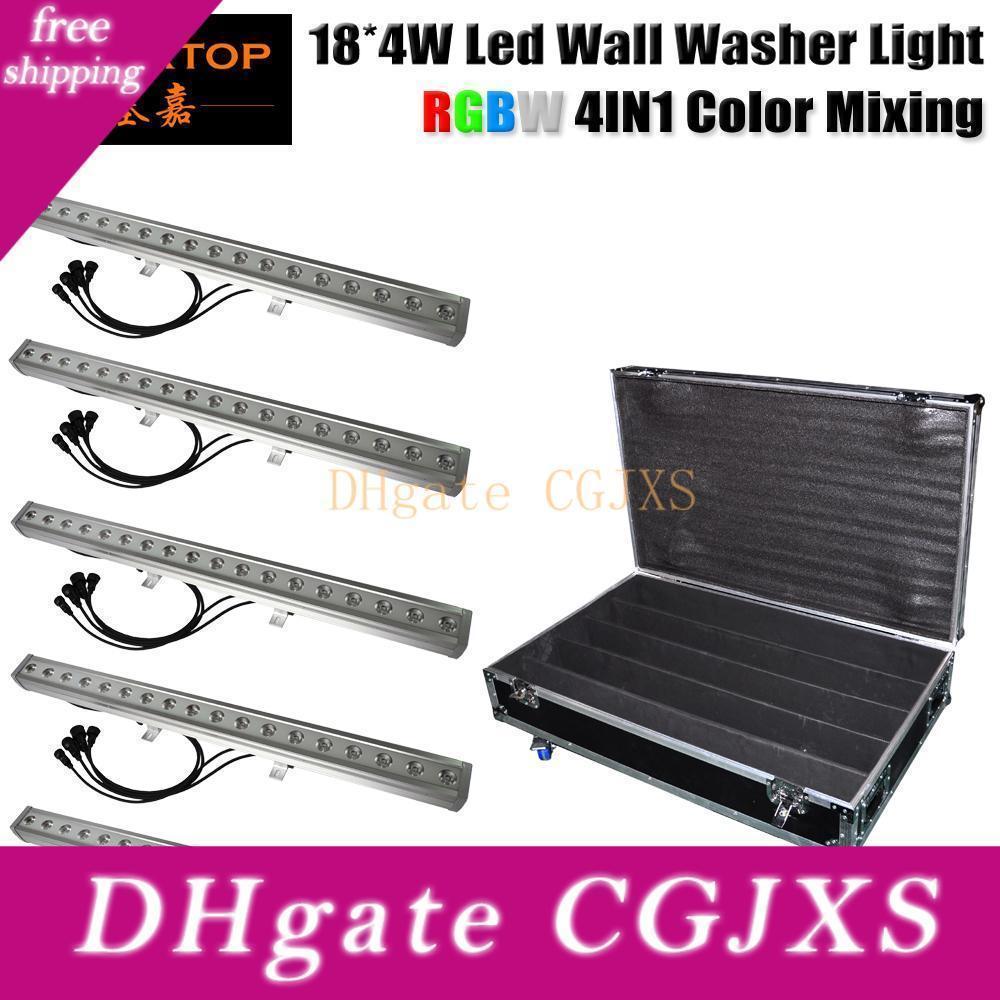 Pack de 18 X 4w Rgbw 80w 24v IP65 luces de inundación al aire libre de la lámpara LED de larga lineal arandela de la pared la luz el caso del vuelo 5en1