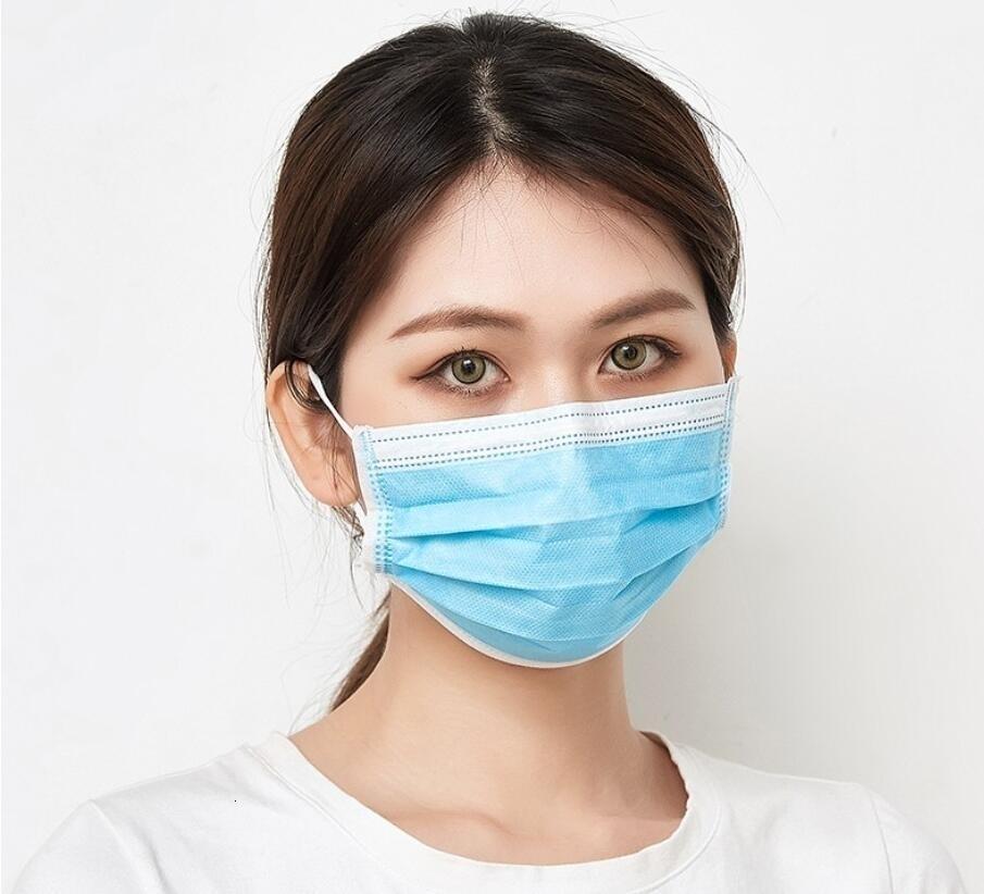 Visage antipoussière Stock! 3 couches Masques Bleu Er visage de protection anti-poussière Masque rapide Livraison gratuite # 384
