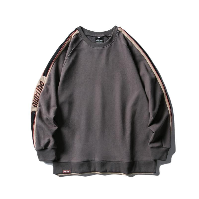 All-match Long-Sleeved Harajuku Streetwear Sweatshirt Autumn round Neck Casual Simple Bottoming Shirt Fake Two-Piece Pullover