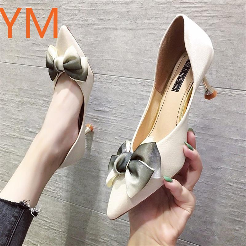 High Heel Marca rasa das Mulheres Boca Calçados Femininos sapatos bicudos Heel Bow Copo de Vinho Festa Sexy Summer Wedding 40