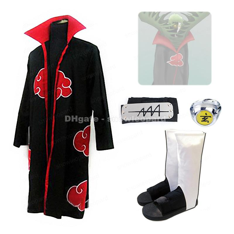Naruto Zetsu Cosplay Costume 4 Pcs Set Akatsuki Cloak Shoes Finger Ring Headband Mens Halloween Clothing