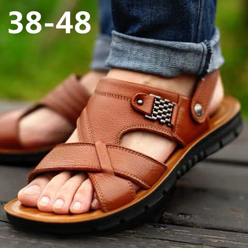 Las sandalias del verano de los hombres de cuero genuino cómodo deslizamiento en sandalias casuales tamaño de la moda de los hombres zapatillas zapatillas hombre 38-48