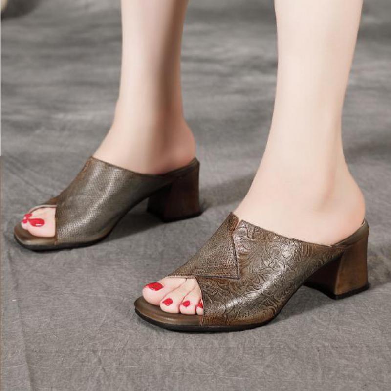 YourSeason Handmade женщин ретро тапочки из натуральной кожи Слайды Шитье Женские Повседневный Летняя обувь 2020 Новые