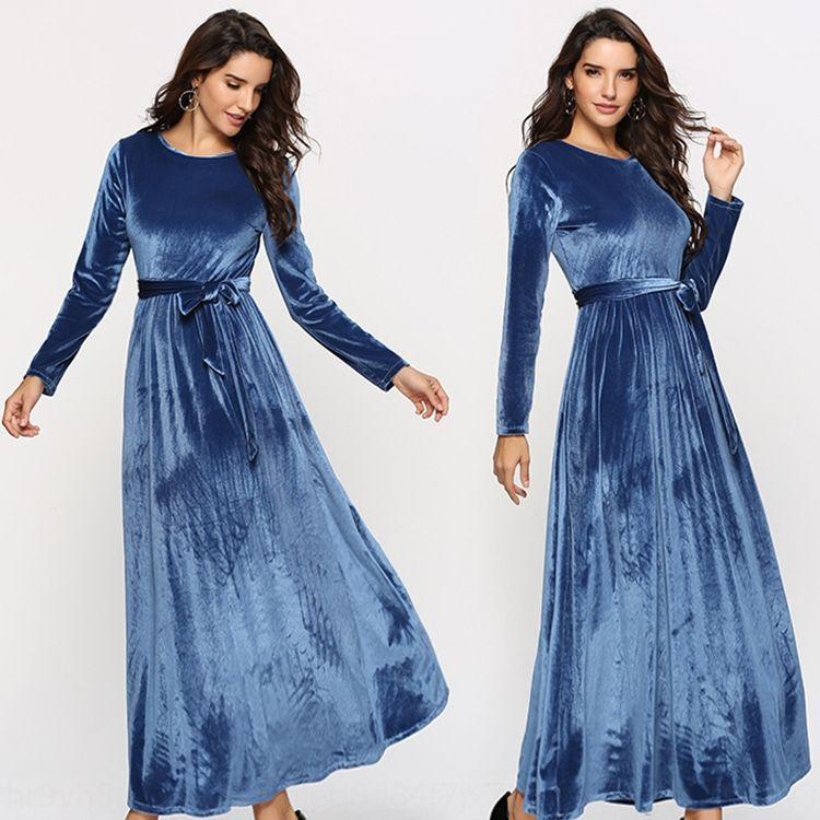 nouveau col rond de couleur unie des femmes jupe longue de haute robe de velours d'or à lacets taille longue robe uf0Y0